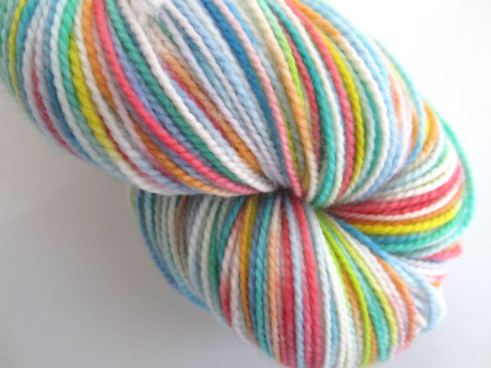 easter rainbow sock yarn reskeined