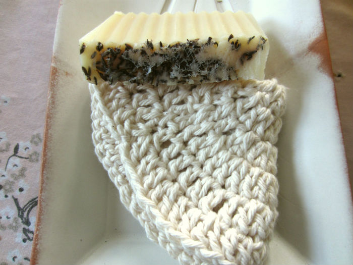 lavender soap and natural crochet washcloth